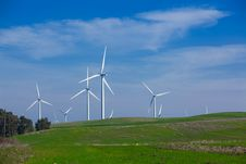 Free Wind Farm With Blue Sky Royalty Free Stock Image - 18339226