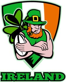 Free Irish Leprechaun Rugby Player Royalty Free Stock Photos - 18341828