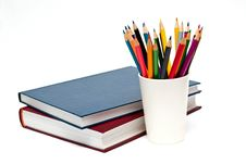 Free A Stack Of Color Books And Pencils Royalty Free Stock Image - 18342276