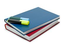 Two Books And Two Markers Stock Images