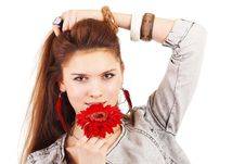 Free Beautiful Girl With Red Flower Near Lips Royalty Free Stock Photos - 18342778