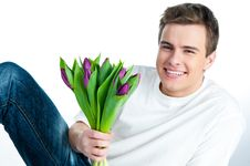 Free Man With A Bouquet Of Tulips Stock Photo - 18344000