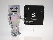 Free Robot At Blackboard Stock Images - 18344094