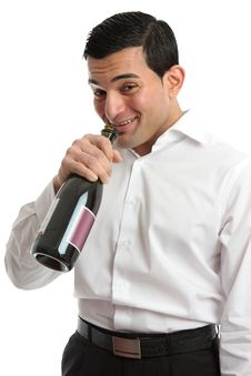 Alcohol Abuse Man Drinking From Wine Bottle Royalty Free Stock Image