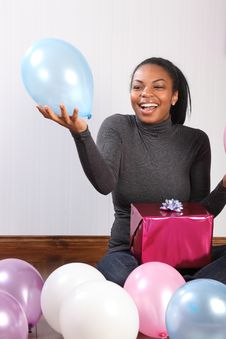 Free Party Fun Balloons And Birthday Present At Home Stock Photography - 18346262