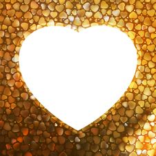Free Gold Frame In The Shape Of Heart. EPS 8 Royalty Free Stock Photo - 18346435