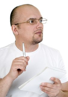 Free The Man Writes In A Notebook Stock Image - 18346511