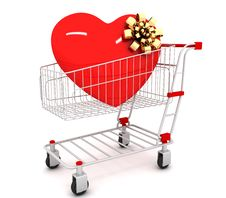 Free Shopping Cart With Heart Inside Royalty Free Stock Photo - 18347595