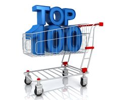 Top Hundred In Shopping Cart Royalty Free Stock Photo