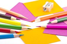 Free Colorful Pencils And Note Papers Royalty Free Stock Photography - 18348547