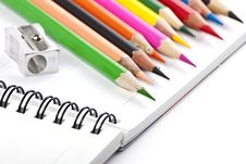 Free Notebook And Colorful Pencils Stock Photos - 18348623