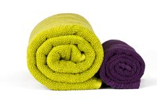 Free Rolled Up Green And Violet Towels Royalty Free Stock Photography - 18348647
