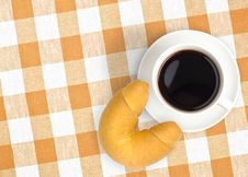 Free Top View Coffee Cup And Croissant On Tablecloth Royalty Free Stock Photo - 18349075