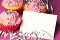 Free Cupcakes With A Blank Invitation Royalty Free Stock Photography - 18354067