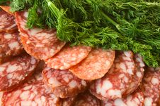 Free Sausage And Green Dill Stock Images - 18350144