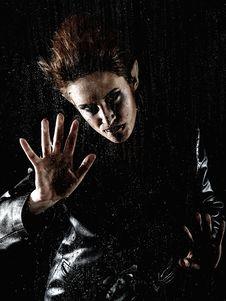 Free Horrible Vampire Woman Behind Rainy Window Royalty Free Stock Photos - 18350318