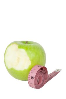 Free Green Apple And Tape Royalty Free Stock Image - 18350326