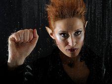 Free Horrible Vampire Woman Behind Rainy Window Royalty Free Stock Photography - 18350337
