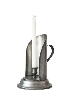 Silver Candlestick With White Candle Royalty Free Stock Photography