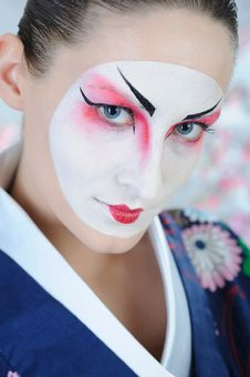 Free Japan Geisha Woman With Creative Make-up Royalty Free Stock Image - 18351046