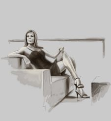 Lady Sitting On The Sofa Stock Images