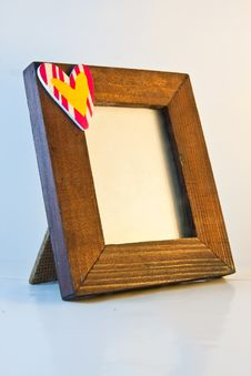 Wooden Frame With Heart Face Right Royalty Free Stock Images