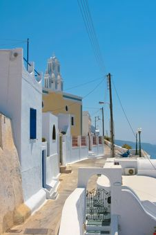 Colorful Old Street In Santorini Royalty Free Stock Photography