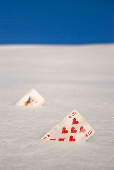 Free Cards On Snow Royalty Free Stock Photography - 18352247