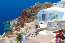 Free Colorful Architecture In Santorini With Aegean Sea Stock Images - 18352304