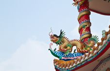Free Dragon Sculpture On Roof Royalty Free Stock Photography - 18352317