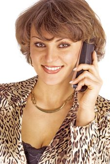 Free Portrait Of Woman With Phone Stock Image - 18352521