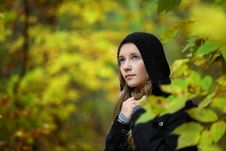 Free A Girl Is In An Autumn Park Royalty Free Stock Photo - 18352815