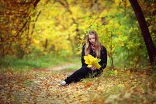 Free A Girl Is In An Autumn Park Royalty Free Stock Photography - 18352887