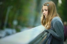 Portrait Of  Nice Thoughtful  Young Girl Royalty Free Stock Images