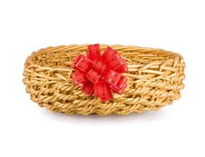 Free Wattled Basket With A Red Bow Stock Photos - 18353443