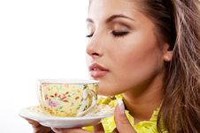 Free Woman With Fresh Cup Of Tea Stock Photo - 18354350