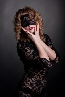 Beautiful Woman With Lace Mask Royalty Free Stock Image