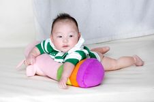 Free Baby Laying On A Pillow Stock Photo - 18356410