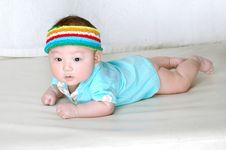 Free Cute Baby With Colorful Cap Stock Photography - 18356462
