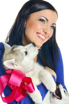Free Woman And Puppy Stock Images - 18357894