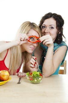 Free Girlfriends Cheerfully Play With Food Royalty Free Stock Photos - 18358588