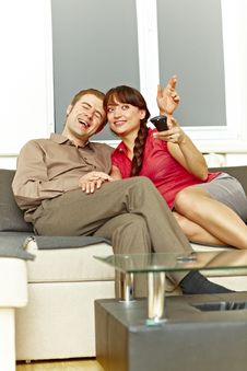 Free Nice Couple Watching Tv Stock Image - 18358701