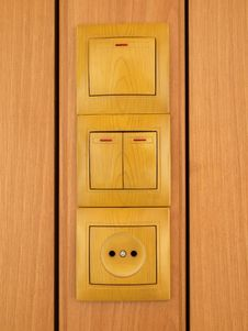 Wall Outlets End Electric Switch. Royalty Free Stock Photos