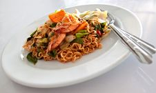 Dish Of Fried Noodle With Shrimp Stock Images