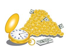 Clock Time Money Dollar Coin Royalty Free Stock Images