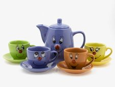 Free Kid S Tea Set With Curious Faces Royalty Free Stock Photos - 18359268