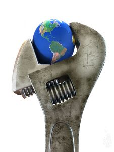 Wrench & Earth Royalty Free Stock Images