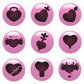 Free Heart Button Set Royalty Free Stock Images - 18366579