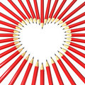 Free Pencils Surrounding Heart Shaped Space Royalty Free Stock Images - 18367229