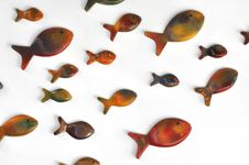 Free Fishes Are Swimming On The Wall Royalty Free Stock Images - 18360829